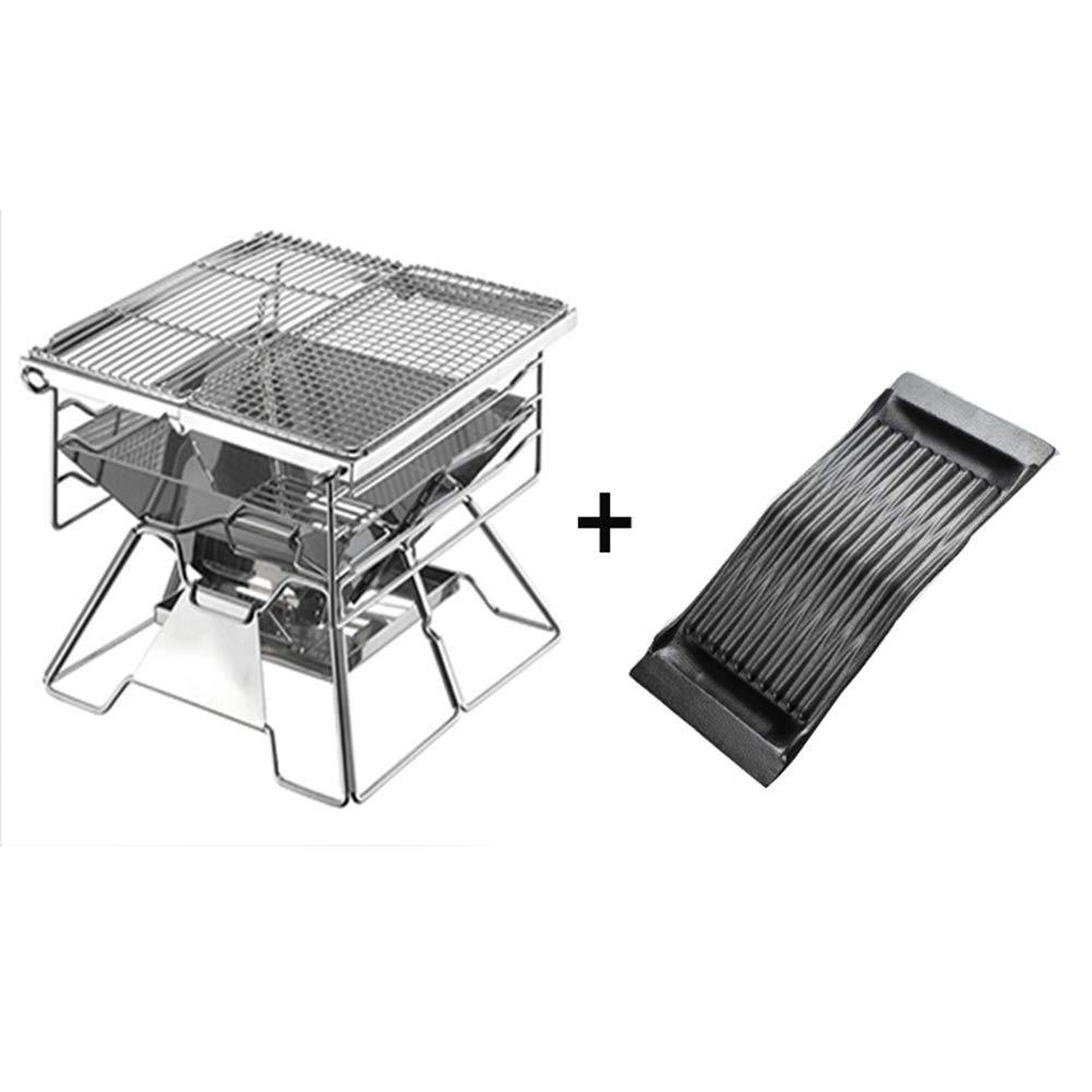 Parrilla plegable del BBQ del carbón de leña hecha del Steelm inoxidable, portable compacto y grande para acampar, picnics, backpacking, patios traseros, supervivencia, preparación de la emergencia.
