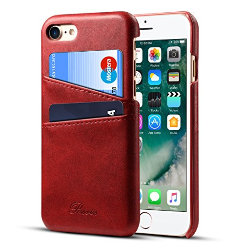 iPhone 8 Case, iPhone 7 Case Leather Card Slots Holder Slim Phone Wallet Cover By Rssviss For iPhone8 iPhone7 - Red,4.7 inch