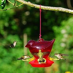 Songbird Essentials Bee Repellant Red Bird Hummingbird Feeder. 3 Nectar Ports. 12 Ounce Capacity