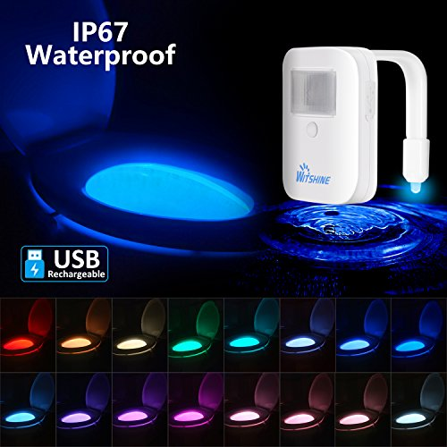 Rechargeable 16-Color Toilet Night Light with IP67 Waterproof Design, Motion Sensor LED Toilet Bowl Light, 5 Stage Dimmer, Motion Detection, Long Lasting - By Witshine