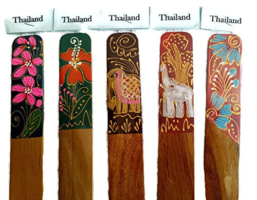 5pcs Paint Elephants and Flowers on Teak Wood Bookmarks.