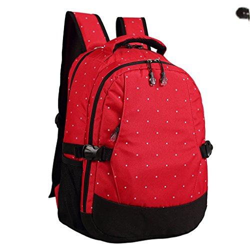 LCY - Mochila para pañales multiusos rojo con lunares blancos Red with White Dots