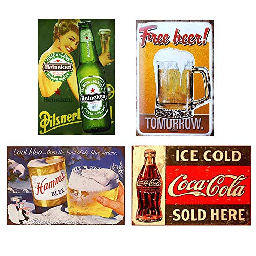 Easy Painter 4PCS Beer Cola Series Vintage Iron Painting Signs Poster Retro Metal Plaque Bar Pub Club Plaque Vintage Wall Vintage Home Decor 7.8x11.8inch