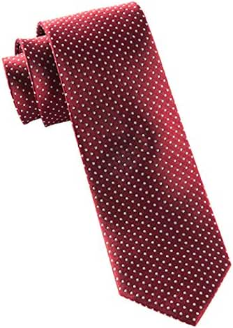 The Tie Bar 100% Woven Silk Crimson Pindot Skinny Tie