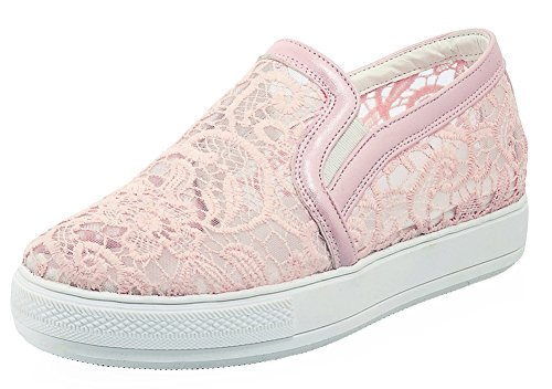 SHOWHOW Women's Comfort Round Toe Slip On Sneakers with Mesh Pink 9 B(M) US by SHOWHOW