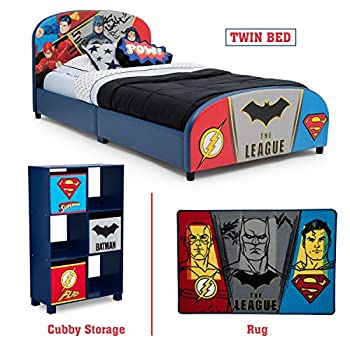 Image of Delta Children – Justice League Twin Furniture Set, 3-Piece by DC Comics (Superman, Batman, Flash, Wonder Woman Upholstered Twin Bed | Storage Unit w/6 Cubbies and Bins | Flash, Batman and Superman Home and Kitchen