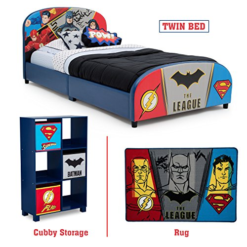 Delta Children - Justice League Twin Furniture Set, 3-Piece by DC Comics (Superman, Batman, Flash, Wonder Woman Upholstered Twin Bed | Storage Unit w/6 Cubbies and Bins | Flash, Batman and Superman