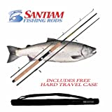 Cheap Santiam Fishing Rods Travel Rod 3 Piece 8'6″ 12-30LB MH Graphite Spinning Rod w/Hard Case