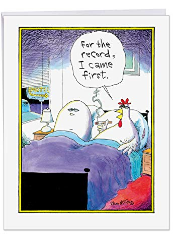 (Big Funny Birthday Card - 'I Came First' Featuring Hilarious Chicken and Egg in Bed Joke With Envelope 8.5 x 11 Inch - XL Happy Birthday Greetings Card - Adult Humor J4753BDG)