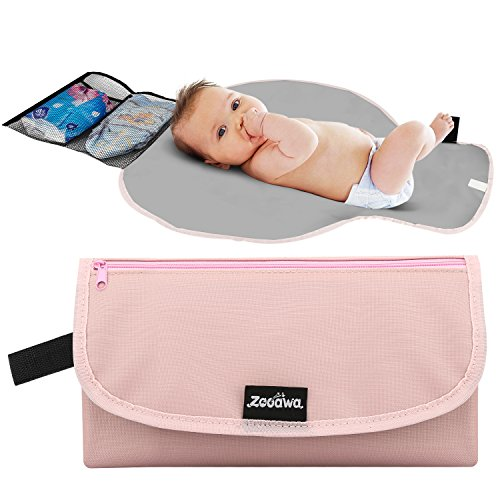 Zooawa Portable Diaper Changing Pad Mat Waterproof Folding Station Clutch Travel Carrying Bag for Baby Infants, Pink