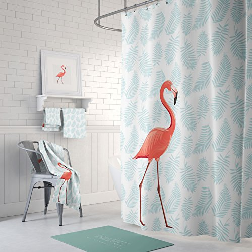 Zeafeel PEVA Tropical Flamingo Bathroom Shower Curtain Waterproof Mold And Mildew Resistant Bath Curtains