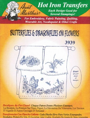 - Butterflies & Dragonflies on Flowers Aunt Martha's Hot Iron Embroidery Transfer