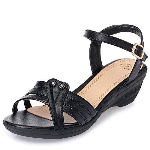Zapatos KPHY Plano De black Pendiente Madre Y Antideslizante Fondo Mujer Media Sandalias De Verano La Tacon Vejez qgOwqST