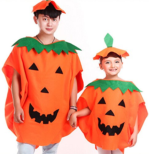 Halloween Pumpkin Costume Set for Family Parent Kids Orange Pumpkin Cosplay Suit Hat School Party Children Clothing Clothes Accessory (Adult Size (For Height (Parents And Kids Halloween)