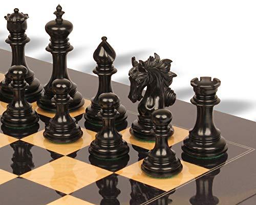 Marengo Staunton Chess Set Ebony & Boxwood Pieces with Black & Ash Burl Chess Board - 4.25