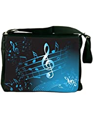 Rikki Knight Blue Music Notes Sheet Design Messenger Bag - Shoulder Bag - School Bag for School or Work