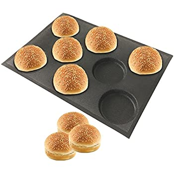Amzchoice Silicone Hamburger Bread Forms Perforated Bakery Molds Non Stick Baking Sheets Fit Half Pan Size