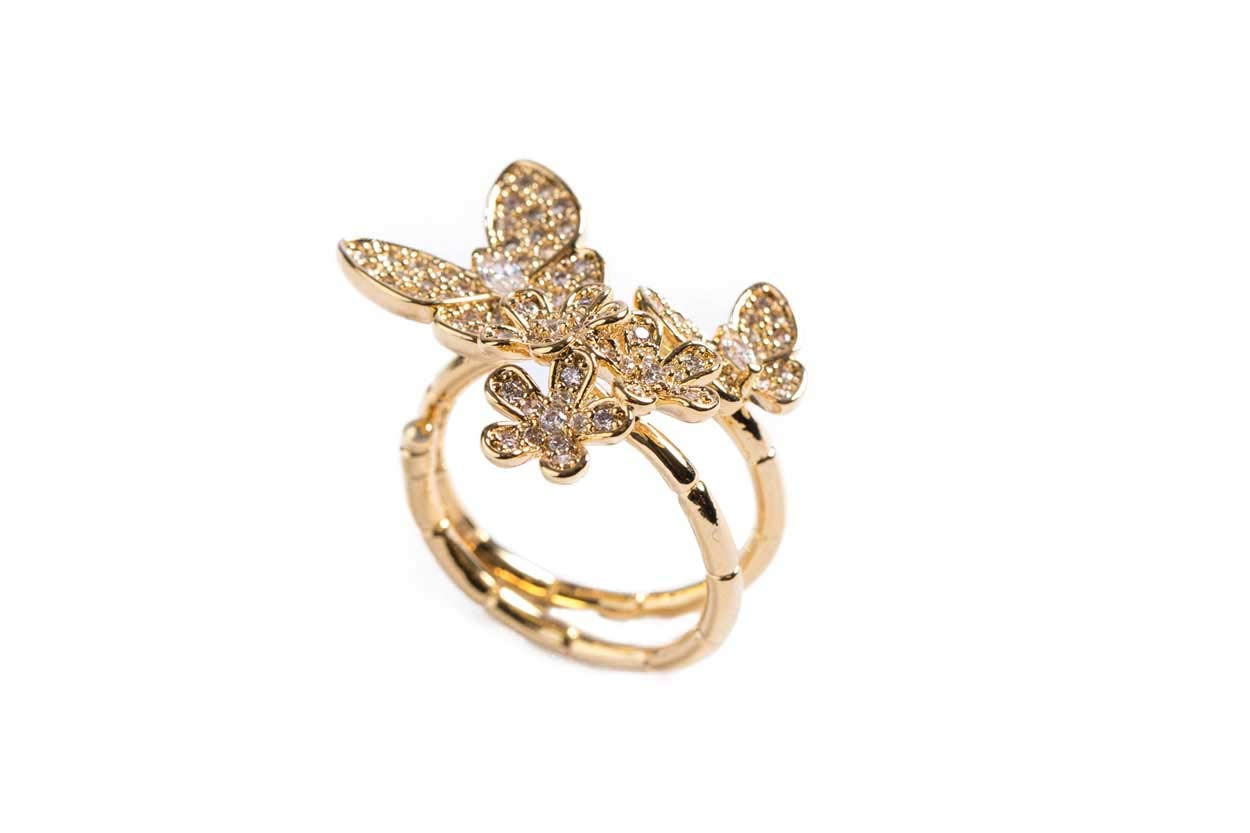 Evelyn Lozada Garden Ring with Swarovski Crystal Pavé Flowers, Small & Large Signature Butterfly - Size 6 Adjustable