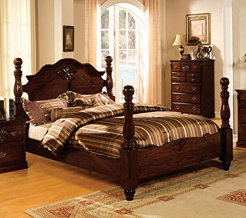 Poster Footboard - 24/7 Shop at Home 247SHOPATHOME IDF-7571EK Poster Bed, King, Walnut