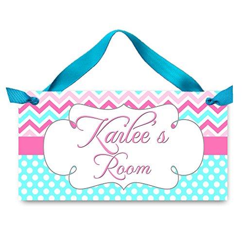Toad and Lily Personalized Door Sign Aqua Pink Chevron Sign Girls Bedroom Plaque Baby Nursery Kids Bedroom Door Sign Wall Art Personalized Name Hanger DS0106
