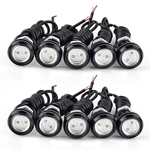 (YITAMOTOR 10x 9W Eagle Eye LED 23mm Car Daytime Running DRL Lighting Kit Reverse Backup Parking Signal Fog DIY Bulbs (Green))