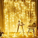 ilikable LED Curtain Lights Fairy String Lights 10ft x 6ft 300 LED String Lights 8 Modes for Wedding Party Indoor Wall Window Home and Garden Decoration, Warm White