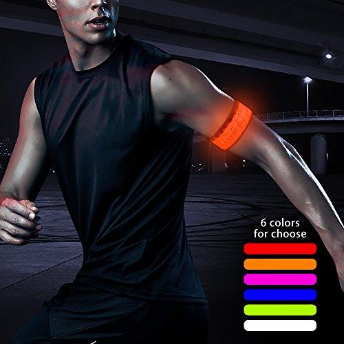 Higo LED Slap Bracelets, Glow in the dark Wristbands, Nylon Sports Armband for Running, Cycling, Hiking, Jogging (Orange--design (Glow Wristband)