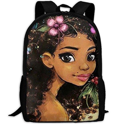 (SARA NELL School Backpack African American Girl School Bookbag Casual Outdoor Daypack Travel Bag For Teen Boys Girls College)