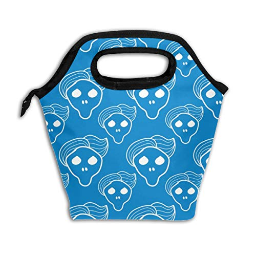 Blue Skull With Trendy Hairstyle_9749 Lunch Bag Insulated Lunch Box Reusable Lunch Tote Cooler Organizer Bag Lunch Bags for Women,Men and Kids ()