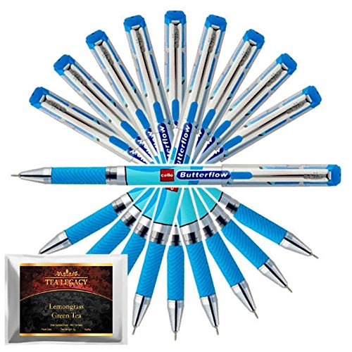 Cello Butterflow Blue Pen Smooth Fine Writing 0.6 mm Tip + TeaLegacy Free Sampler (10 Ball Point Pens) Exam Series Write Long Time In School & College Low Pressure High Volume Elastic Grip