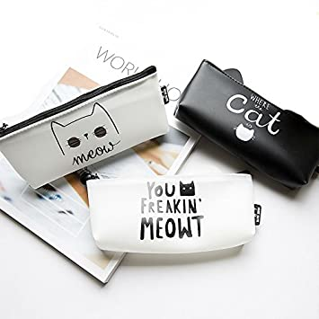3 piezas Juego de estuche, estuche, diseño de gato bolsa de cosméticos, Funny Cat Regalos: Amazon.es: Oficina y papelería