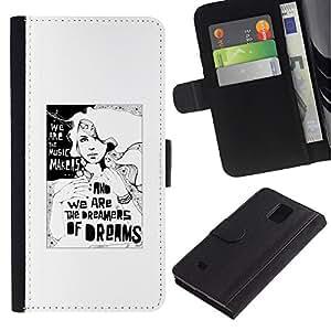 Paccase / Billetera de Cuero Caso del tirón Titular de la tarjeta Carcasa Funda para - Dreamer Deep Meaning Metaphor White - Samsung Galaxy Note 4 SM-N910