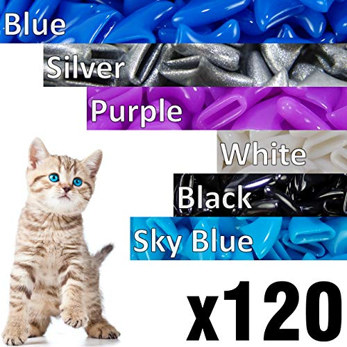 (120 pcs Soft Cat Claw Caps Cats Nail Claws 6X Colors + 6X Adhesive Glue + 6X Applicator, Pet Cap Tips Cover Paws Grooming Soft Covers (XS, Blue, Silver, Purple, White, Black, Sky Blue))
