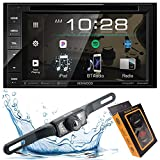 Kenwood DDX26BT Double DIN SiriusXM Ready Bluetooth in-Dash DVD/CD/AM/FM Car Stereo Receiver w/ 6.2' Touchscreen + Backup Camera Included + Gravity Magnet Phone Holder