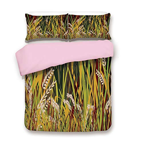 Pink Duvet Cover Set/FULL Size/Reeds Dried Leaves Wheat River wild Plant Forest Farm Country Life Art Print Image/Decorative 3 Piece Bedding Set with 2 Pillow Sham/Best Gift For Girls Women/Multicolor