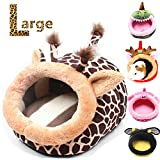 JanYoo Cute Elk pet animals Bed Cube House Cotton Nest For Rabbit - Guinea Pig - Hamster(Giraffe - L)