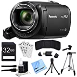 "Panasonic HC-V380K Full HD Camcorder with Wi-Fi Multi Scene Twin Camera – Black w/ Bundle Includes 32GB Memory Card, 57"" Full size Tripod & 6' High Speed mini-HDMI to HDMI A/V Cable"