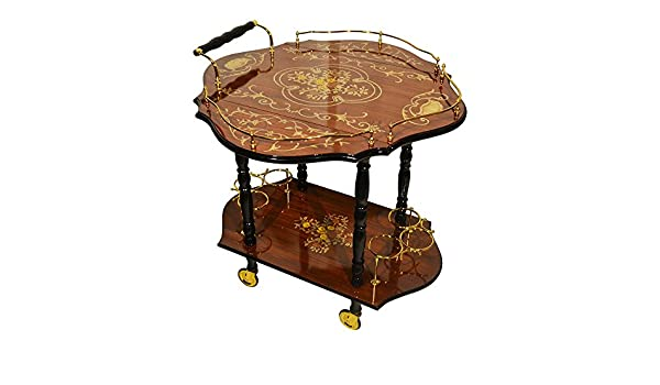 Imported Gift Depot Sorrento Inspired Inlaid Wood Burl Wood Toned Beverage Serving Cart