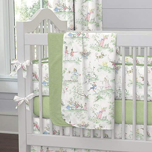 Carousel Designs Nursery Rhyme Toile Sage Crib Blanket