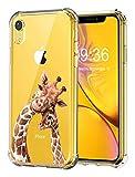 RicHyun Clear Case for iPhone XR, Cute Giraffe with Baby Pattern Print Soft Flexible TPU Bumper Case for iPhone XR 2018