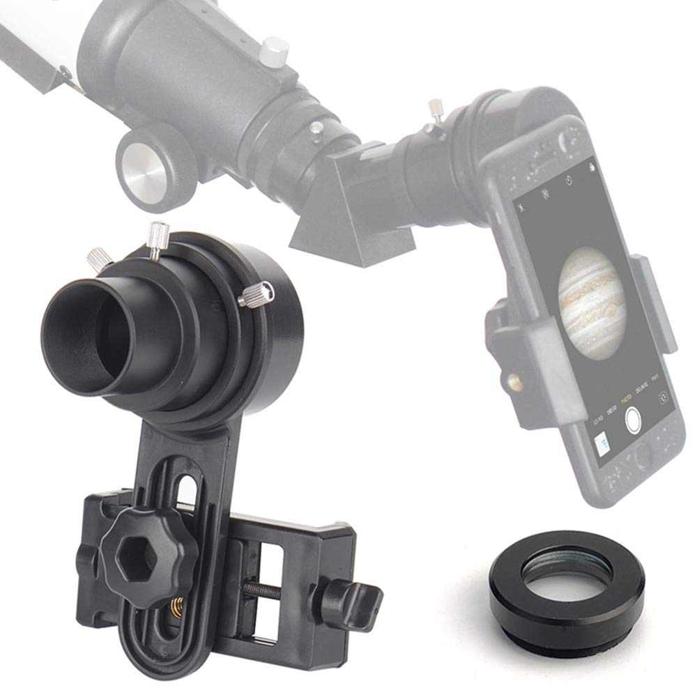 Telescope Cell Phone Adapter Mount Only Applicable with 1.25 Inch Eyepiece Telescope Fits Almost Smartphone on The Market(Width Between 55-102mm)