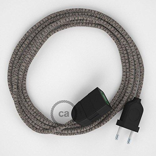 1.5 M/ètres Rallonge /électrique avec c/âble textile RD64 Coton et Lin Naturel Losange Anthracite 2P 10A Made in Italy Blanc