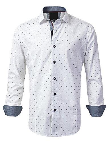 MONDAYSUIT Mens Casual Slim Fit Polka Dot Button Down Shirt White, M