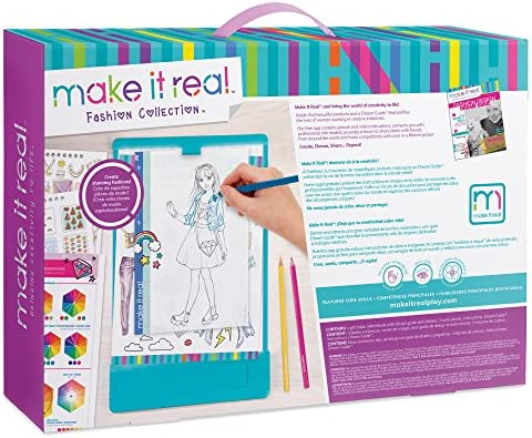 Make It Real Fashion Design Mega Set With Light Table Kids Fashion Design Kit Includes Light Table Colored Pencils Sketchbook Stencils Stickers Design Guide And More Amazon Sg Toys Games