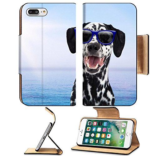 Luxlady Premium Apple iPhone 7 Plus Flip Pu Leather Wallet Case iPhone7 Plus 43620001 Happy Dalmatian breed dog on vacation wearing sunglasses with sunshine and a blue ocean in - Sunglasses Layout