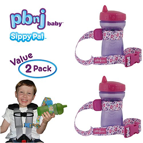 PBnJ Baby SippyPal Sippy Cup Holder Strap Leash Tether (Hearts 2-Pack)