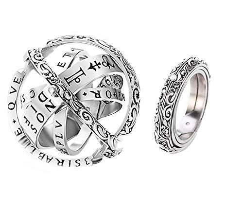 (Astronomical Sphere Ball Ring,Cosmic Finger Ring Couple Lover Foldable Ring That Folds Out to an Astronomical Sphere Ring Lover Jewelry Gifts (Silver, 9))