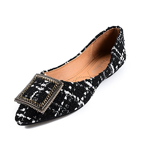 Black Plaid Flat Shoe (Meeshine Womens Classic Pointy Toe Ballet Flats Slip On Plaid Dress Flat Shoes Black-03 US 9)