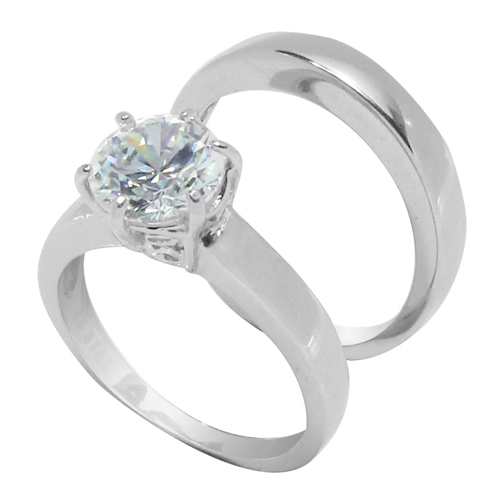 Large 6 Prong Round CZ Solitaire Wedding Set Style Ring in Stainless Steel Size 9
