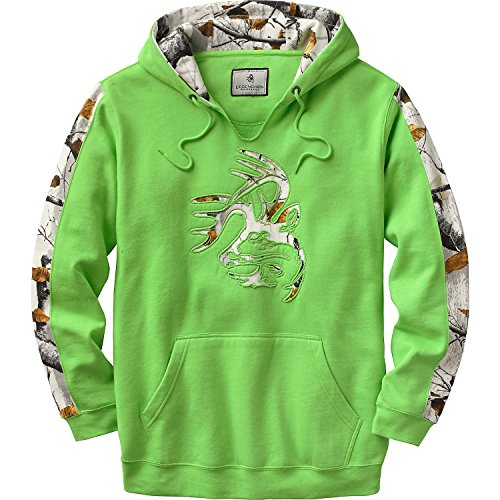 Legendary Whitetails Mens Snow Camo Outfitter Hoodie Optic Lime X-Large Tall
